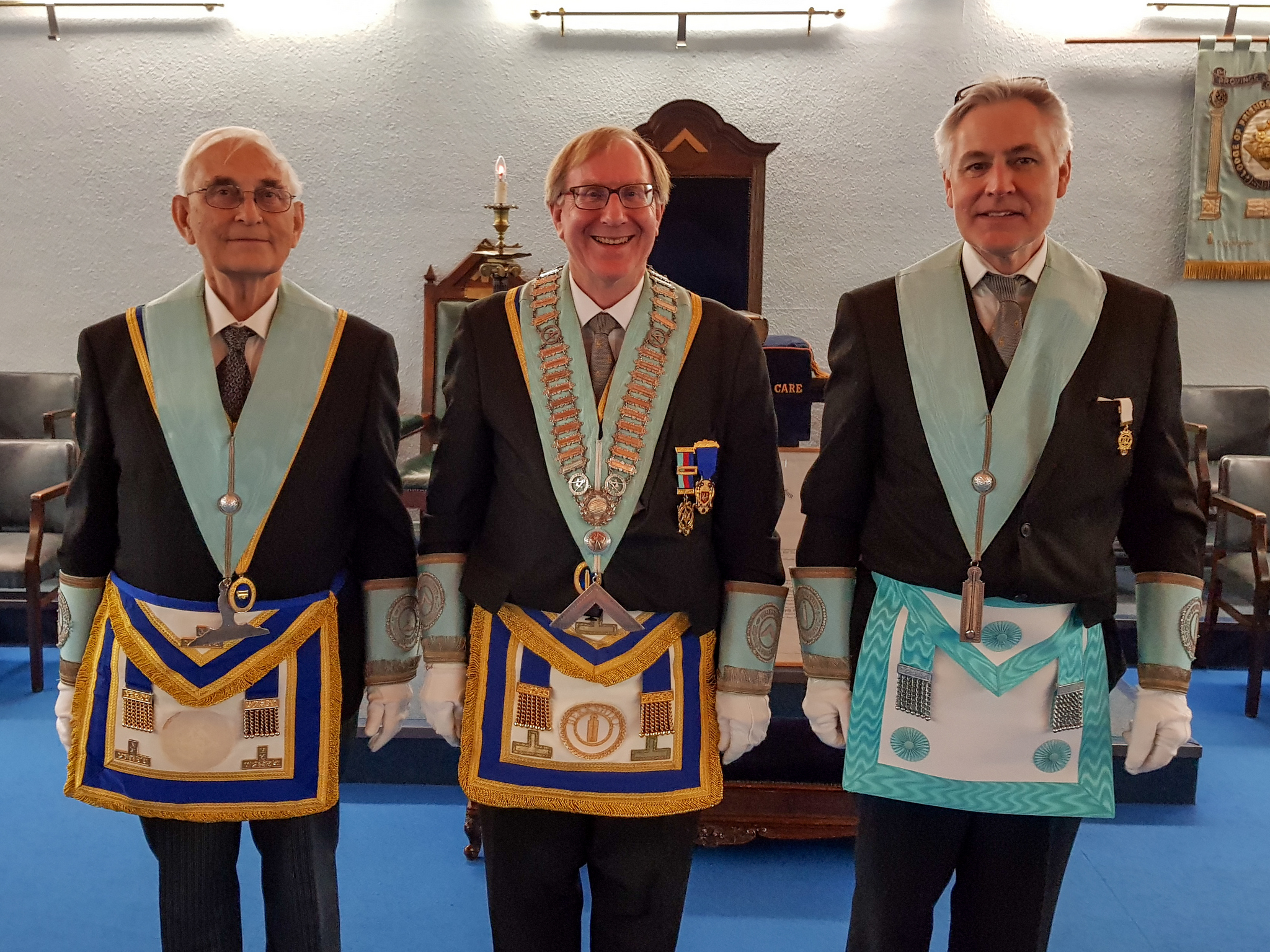 W.Bro David and his Wardens W.Bro. John Rixson and Bro. Andrew Welborn