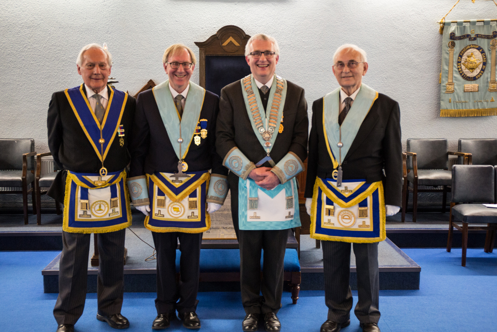 The Master with his Wardens and the Installing Master